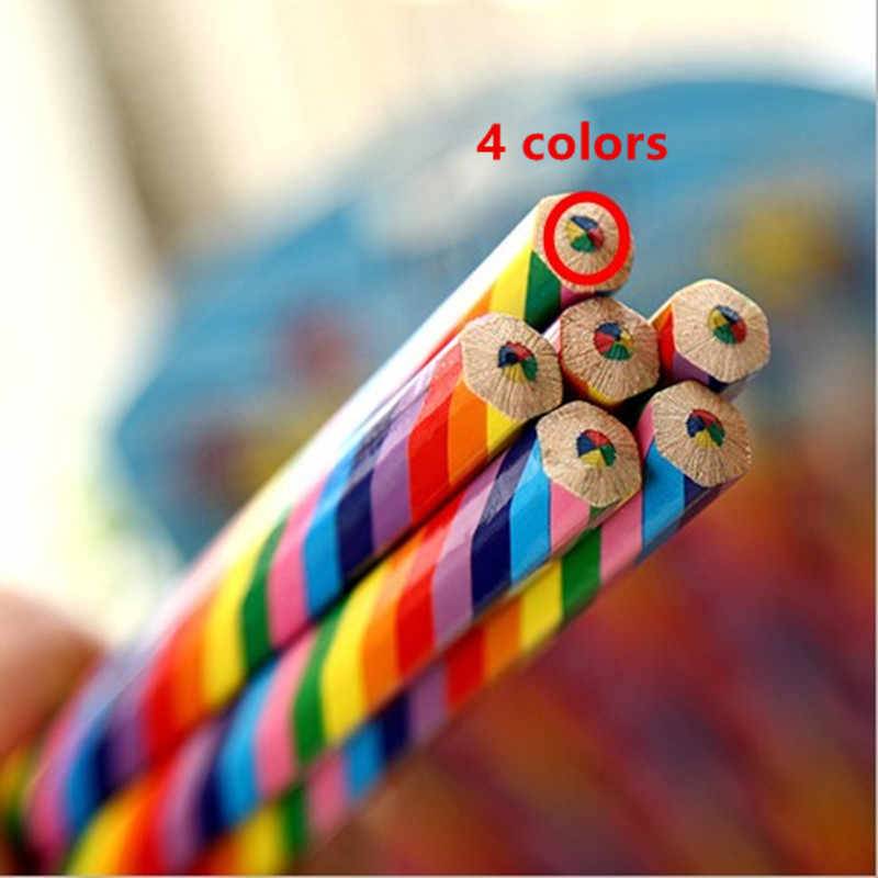 4pcs חמוד 4 צבע קשת עיפרון תלמיד ילדי עפרונות צבעוניים DIY עפרון ציור גרפיטי ציור מתנת אמנות ציוד לבית ספר
