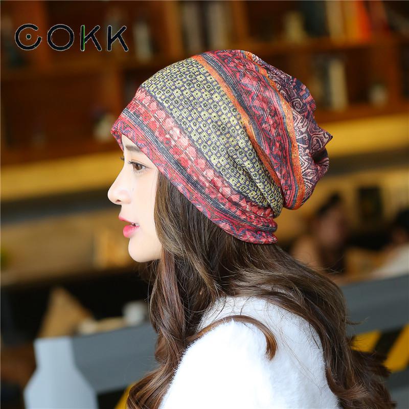 COKK Women Hat Flower Beanie Summer Autumn Thin Beanies Hats For Women Ladies Headgear Turban Hat Female Bonnet Ear Hat Fashion