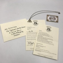 Harriom  School Admission Notice Potter Letter With Magic Deathly Hallows Necklace Figure Toy Gift