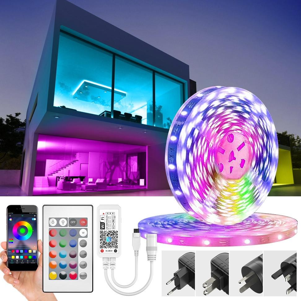 Светодиодная ленсветильник с Wi-Fi, SMD 5050, 2835, RGB, Светодиодная лента, Диодная, 12 В постоянного тока, Светодиодная лента с Wi-Fi контроллером