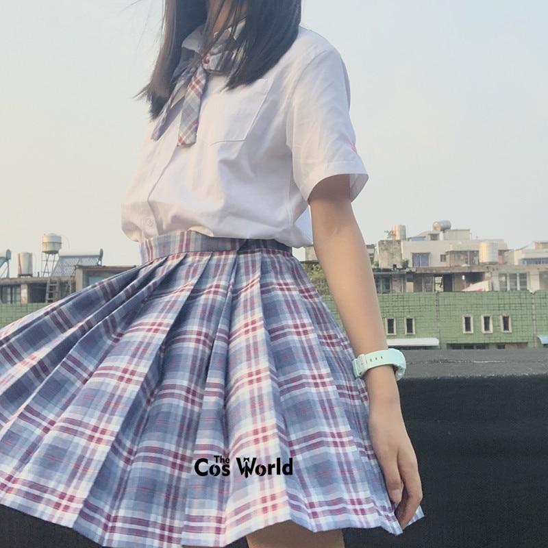 [Grain Full] Girl's Summer High Waist Pleated Skirts Plaid Skirts Women Dress For JK School Uniform Students Cloths