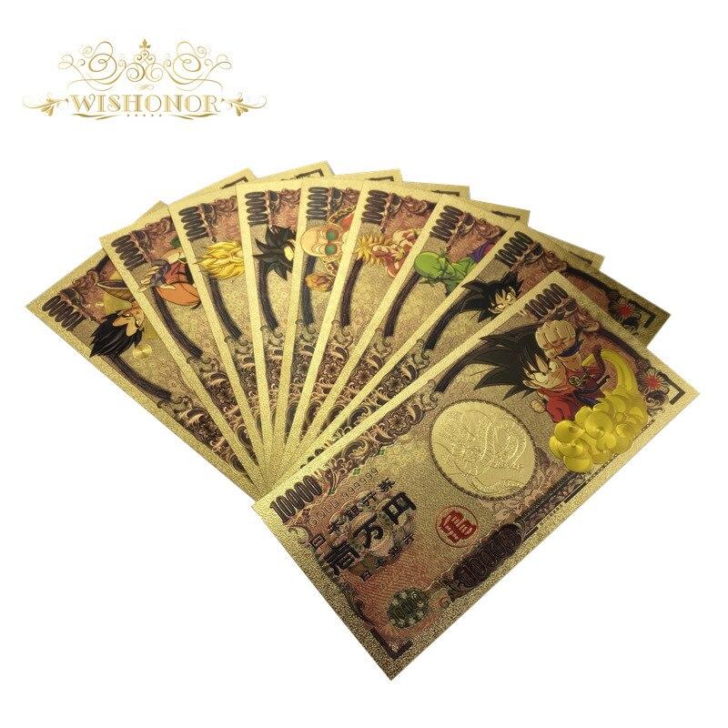 Nuevo billete de Dragon Ball de Japón de 2020, 9 unidades por juego, billete de 10.000 yenes para colección