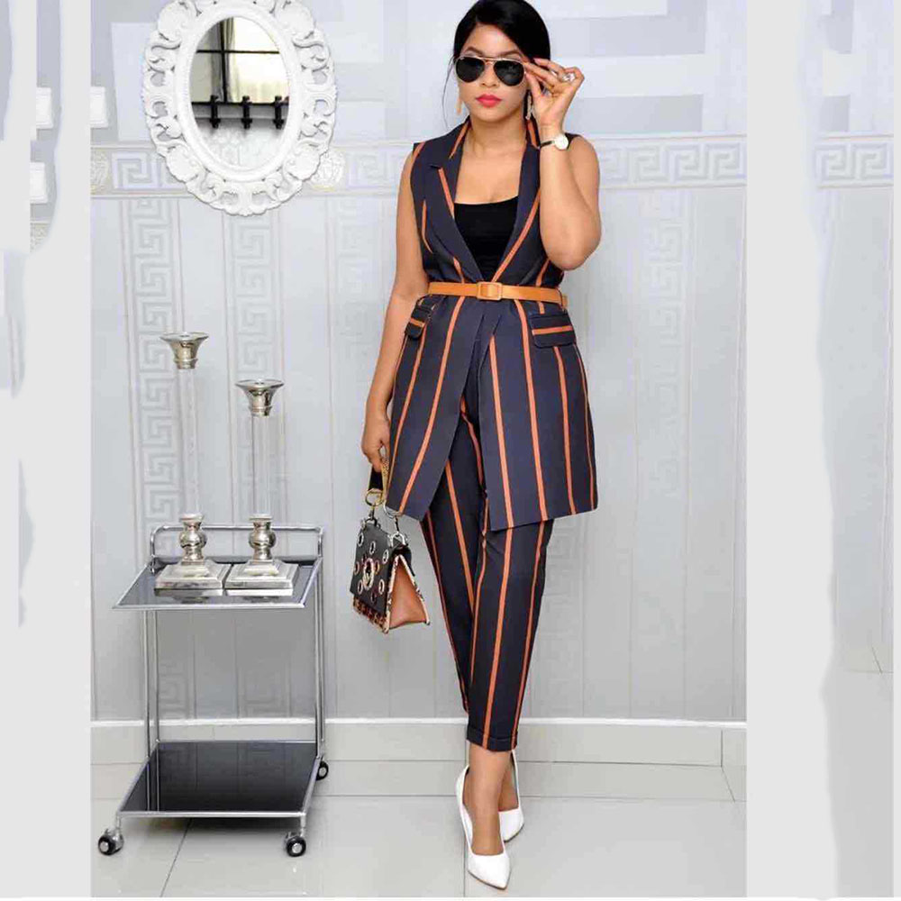 Sleeveless Striped Office Ladies Jacket Pants 2 Pieces Set Slim Elegant Business Women Interview Two Piece Suit Sets Outfits