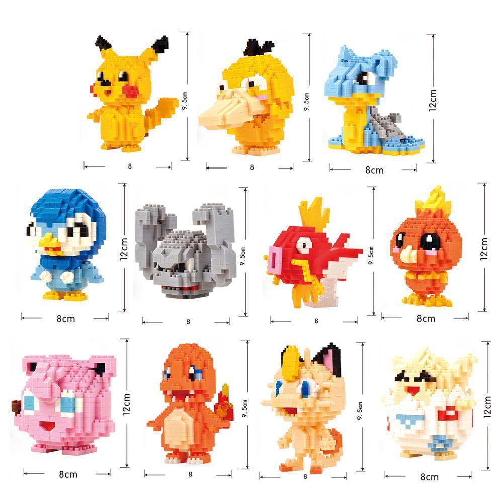 34 new styles Small Building Pokemon Blocks Small Cartoon Picachu Animal Model Education Game Graphics Legoed Pokemon Toys 2