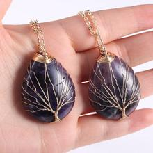 2019 New Natural Stone Druzy Necklace Choker Jewelry for Women Amethysts Crystal Pendant Ladies Alloy Chain