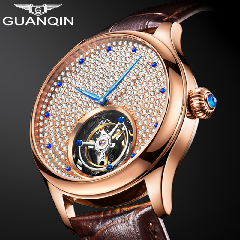 2019 Real Tourbillon Mechanical Hand Wind Sapphire Mens Watches Top Brand Luxury Rhinestone Clock men Gold Relogio Masculino