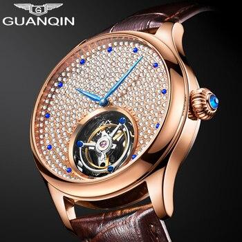 2019 Real Tourbillon Mechanical Hand Wind Sapphire Mens Watches Top Brand Luxury Rhinestone Clock men Gold Relogio Masculino