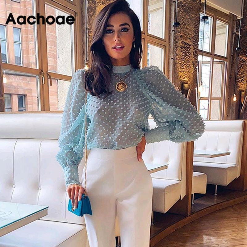 Aachoae Elegant Dots Emebroidery Transparent Blouse Women Puff Long Sleeve Pleated Blouses Ladies Sexy See Through Shirts Tops