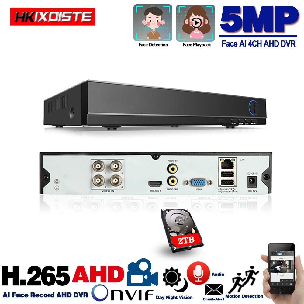 Enregistreur vidéo HD 4 canaux DVR H.265 5MP 4MP 1080P 4CH 5 en 1 DVR hybride avec fonction Wifi 3G pour caméra IP CCTV XVi TVi CVI