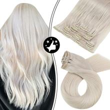 Human-Hair-Extensions Blonde Seamless Real Hair Invisible-Clip Clip-In White Straight