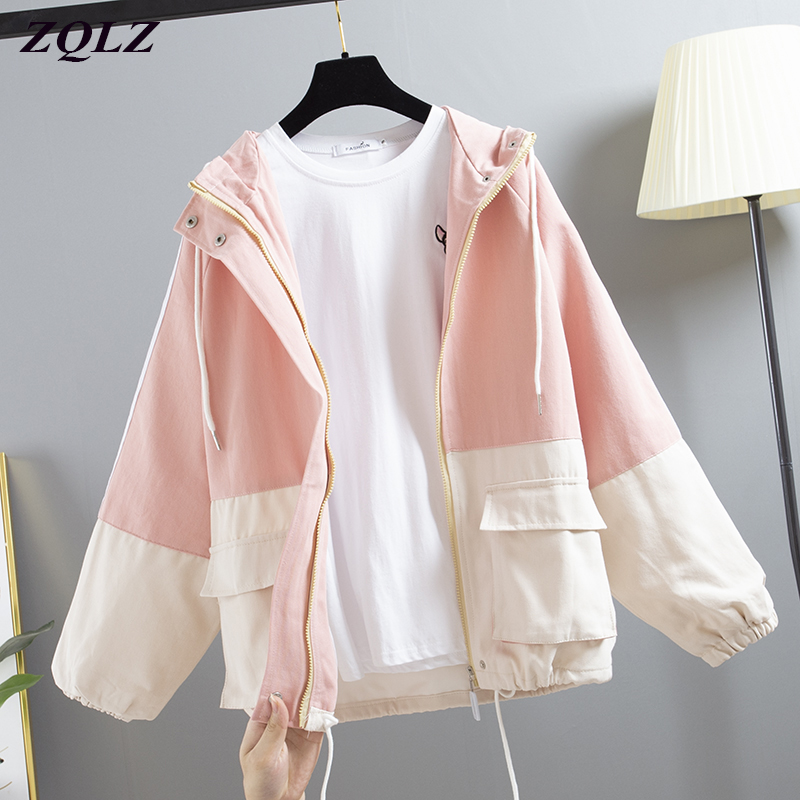 ZQLZ Spring Harajuku Hooded Jacket Women 2020 New Casual Long Sleeve Plus Size Black Coat Female Autumn Loose Outwear Mujer