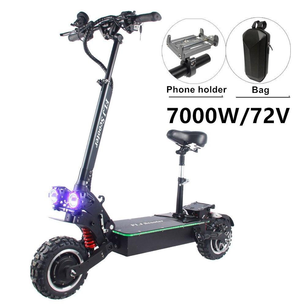 Электрический скутер FLJ 72 в 7000 Вт с двумя двигателями, акриловая светодиодная педаль, высокая скорость, Электрический скутер