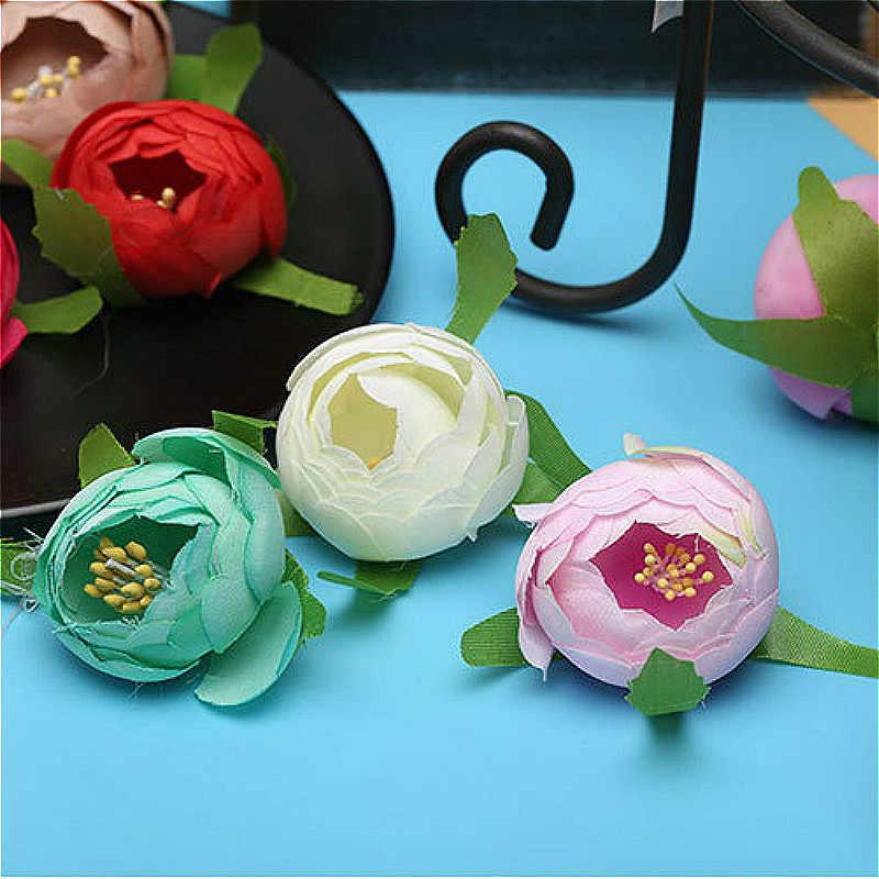 Briday 5/10 pc rosa bud flor artificial para festa de casamento decoração de plantas para casa mariage pano chapéu acessórios falsos flores @ 1
