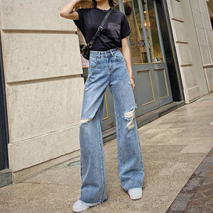 Sexy Spring Hole Ripped Jeans For Women High Elastic Light Washed Vintage Straight Wide Leg Trousers Femme Denim Jeans