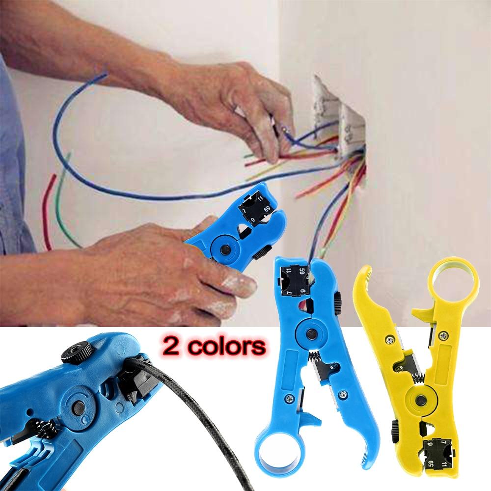 Multi-funcional de corte cuchillo alicates, herramientas Coaxial Cable de alambre alicates de corte Striper para UTP/STP RG59 RG6 RG7 RG11