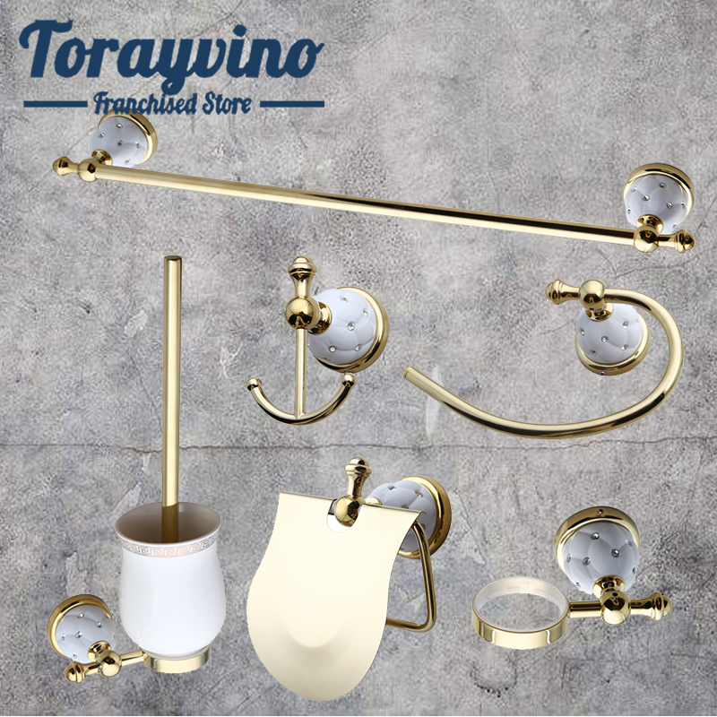 Torayvino bathroom accessories wall gold parts Seven-piece set Towel Rack, Towel Ring, Paper Holder,hook up,Toilet brush sets