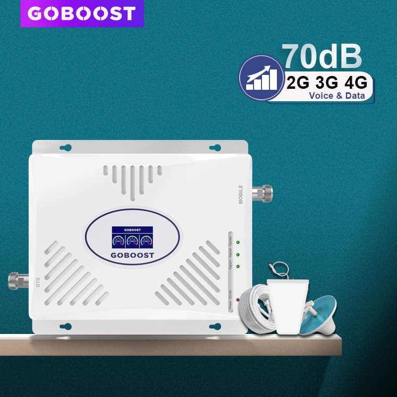 70dB GSM Repeater 2G 3G 4G Signal Booster 900 1800 2100 Tri Band Cellular Amplifier LTE 2600mhz Mobile Phone Amplifier Set ACL