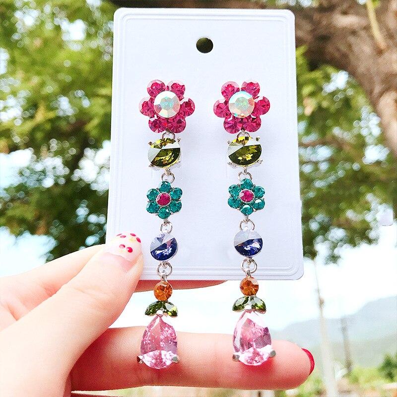 2019 New Arrival Alloy Trendy Water Drop Women Dangle Earrings  Colour Crystal Flowers Long Coloured Earrings Female Jewelry