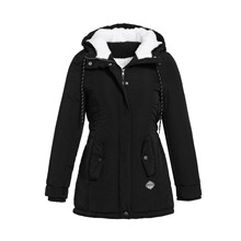 4XLBlack Cotton Coats Women Casual Hooded Jacket Co