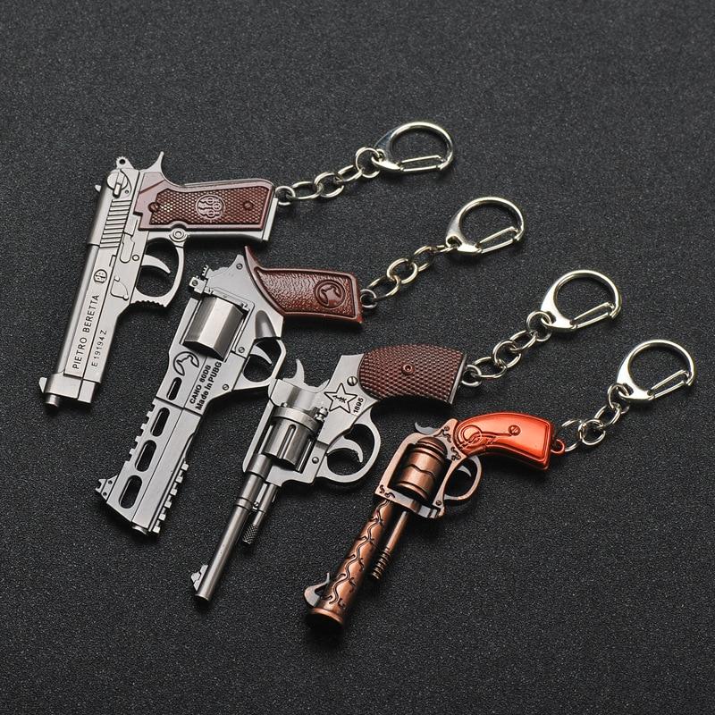 PUBG Key Chain Trinket P92 Signal Pistol Revolver Weapons Model Pendants Keychain Men Car Key Rings Alloy Metal Gun Models Gift