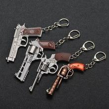 PUBG Key Chain Trinket P92 Signal Pistol Revolver Weapons Model Pendants Keychain Men Car Rings Alloy Metal Gun Models Gift