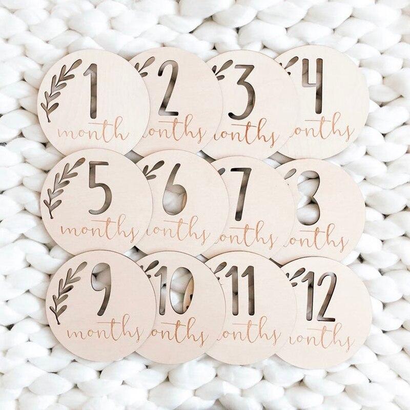 Baby Monthly Milestone Discs,Wooden Baby Markers,Engraved Wooden Monthly Milestone Plaques Set Of 12 Pcs