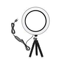 6 дюймов 8 дюймовый Диммируемый USB светодиодный кольцевой светильник фотосъемка селфи лампа Теплый натуральный белый 4000K для макияжа мобильного телефона в реальном времени студийное светильник