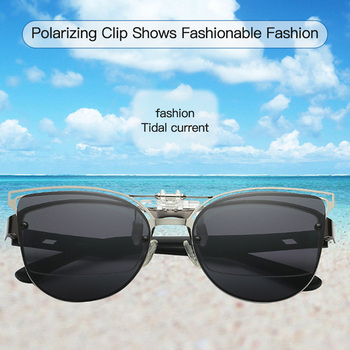 Men Women Fashion Cat Eyes Polarized Clip On Sunglasses Fishing Night Anti UV Driving Cycling riding Fishing Sun Glasses Clips image