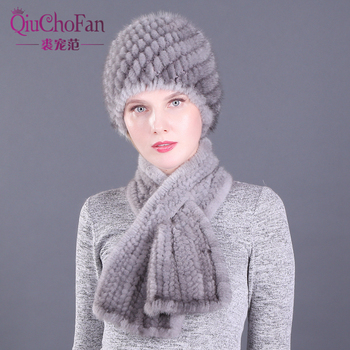 цена на Winter Genuine Mink Fur Pineapple Cap Hats & Scarves Set Knitted Women Warm Natural Mink Fur Caps With Straight Scarf