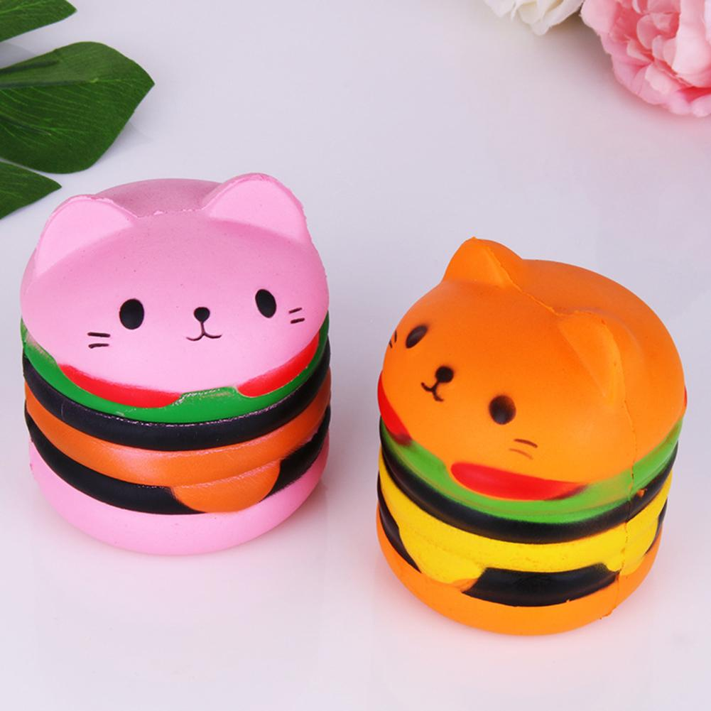 Cute Scented Hamburger Cat Slow Rising Squeeze Toy Kids Adult Stress Reliever Kid Child Man Woman Stress Relief Toys Gifts