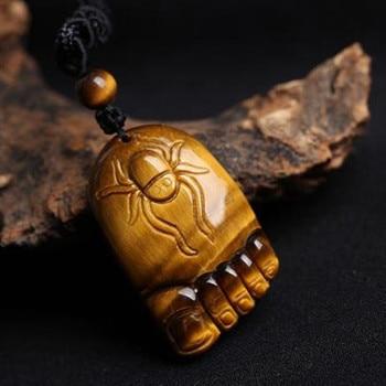 Chino Natural de piedra de ojo de tigre pies araña collar con colgante joyería tallada a mano relajante curación mujeres hombre regalo cuerda gratis