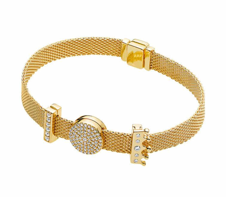 925 Sterling Silber Perle Charme Gold Farbe Glanz Reflexions Dazzling Eleganz Clip Perlen Pan Armband Diy Schmuck