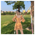 Женское шифоновое платье с высокой талией, желтое платье с цветочным принтом и рукавами-фонариками на завязках, модное сексуальное платье с...
