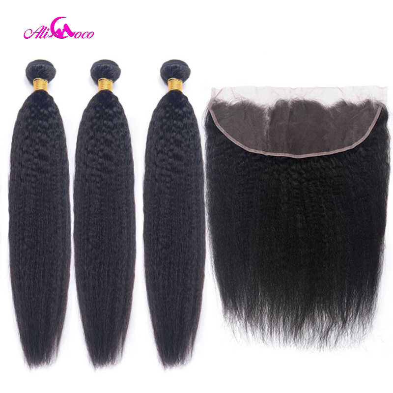 Ali Coco Brazilian Kinky Straight Human Hair Bundles With Lace Frontal 8-28 Inch 13X4 Lace Frontal With Baby Hair Remy Hair