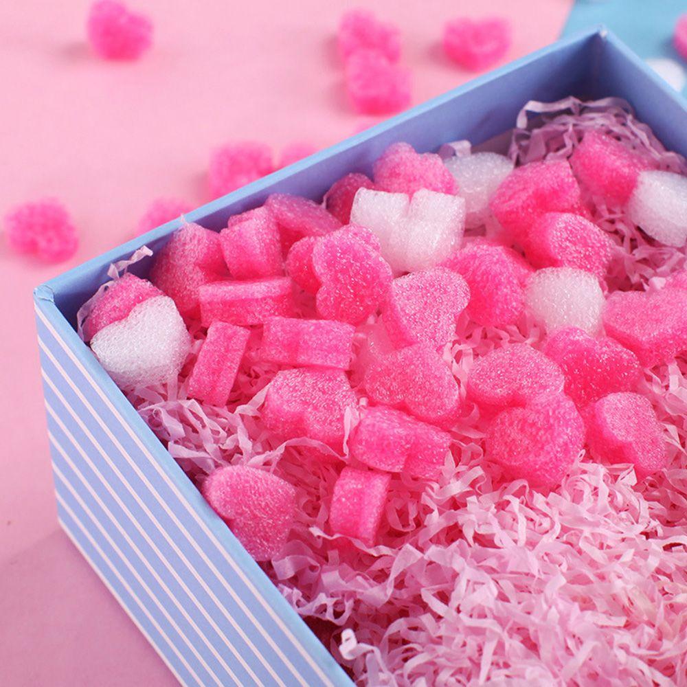 50pcs/bag Pink Mini Heart Love Beads Foam Strip Slime Gift Box Fluffy Slime Filler Sludge Clay Packing Wedding Flower Box Fille