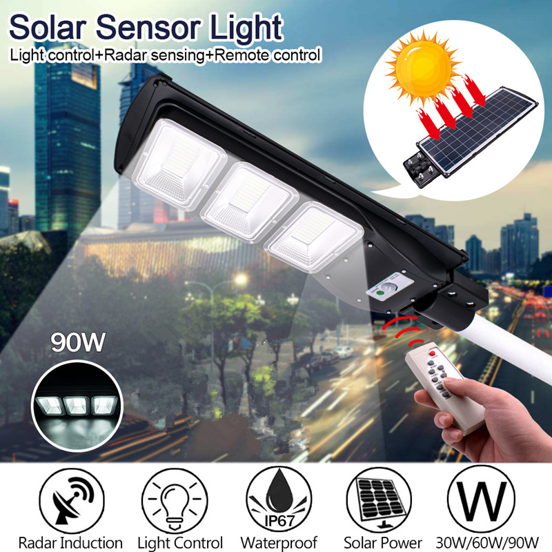 90W LED Solar Lamp Wall Street Light Radar-Induction Outdoor Timing Lamp+Remote Waterproof Security Lamp For Garden Yard
