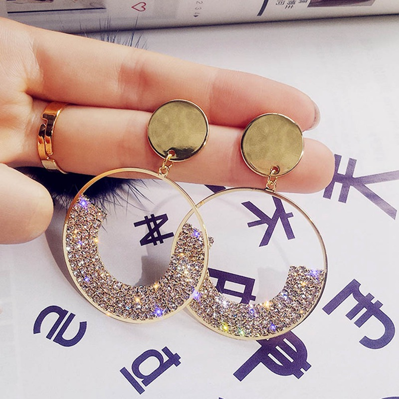 Crystal Drop Earrings Shining Geometry Round Rhinestone Dangle Earring for Women Wedding Party Jewelry