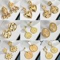 Fashion Statement Unusual Gold Drop Earrings For Women Vintage Geometric Portrait Coin Dangle Female Earrings 2021 Trend Jewelry