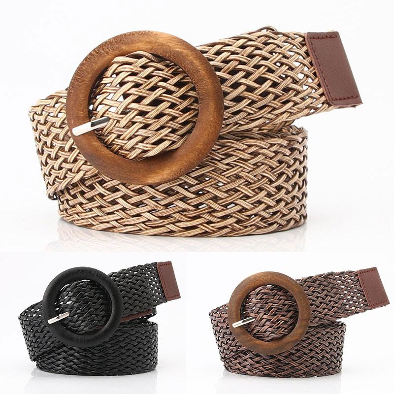 Boho Braided Waist Belt Black Coffee Round Plastic Wooden Smooth Buckle Fake Straw Wide Belts For Women