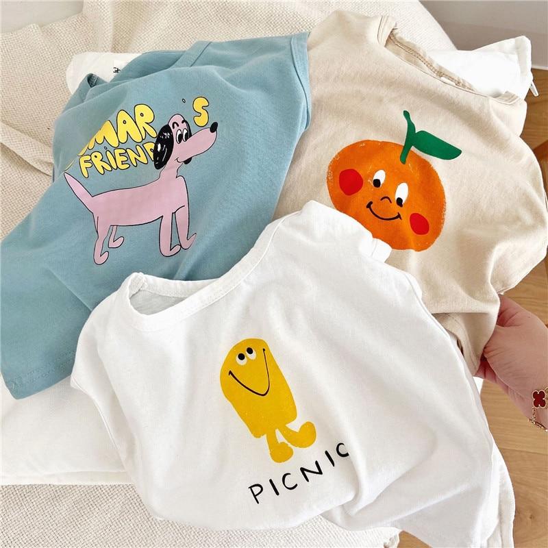 EnkeliBB Toddler Girl Boy Summer T Shirt Fashion Cartoon Pattern Casual Style Baby Top Korean Kids Cotton T Shirts Brand Design