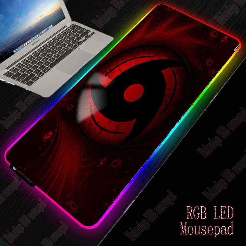 XGZ Naruto Logo Gaming RGB Mouse Pad Gamer Computer Mousepad RGB Backlit Mause Pad Large Mousepad For Desk Keyboard LED Mice Mat