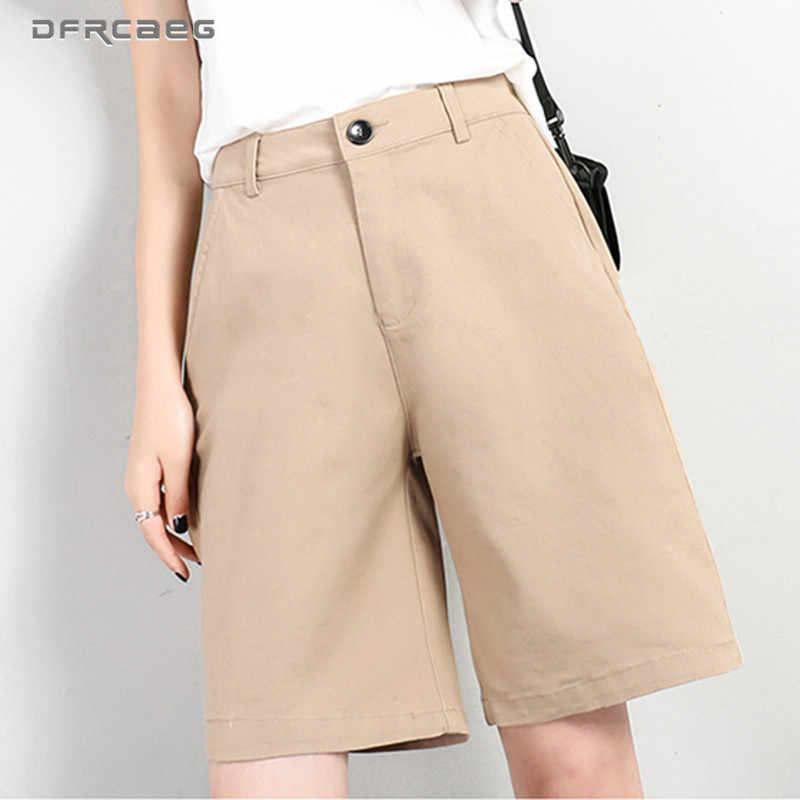Pantalones Cortos Rectos Hasta La Rodilla Para Mujer Pantalon De Cintura Alta Color Caqui Para Verano 2020 Pantalones Cortos Aliexpress