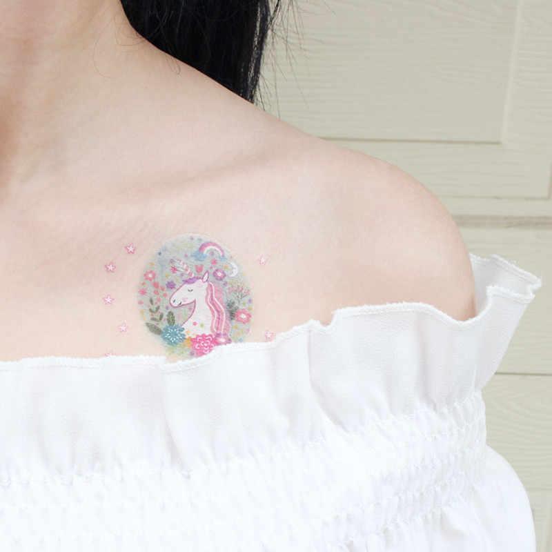 7.5x12 سنتيمتر يونيكورن 1 ورقة المؤقتة الوشم ملصق الملونة وهمية الوشم فلاش للماء صغيرة الجسم الفن زوجين الطفل تصاميم