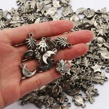 50 шт, смешанные цвета, Форма браслетов, ожерелий, диаметр-пластиковые бусинки античные с цвет серебра Талисман Бусины для изготовления ювел...