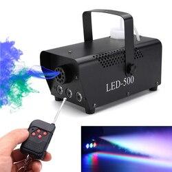 Disco sem fio colorido máquina de fumaça mini led remoto fogger ejetor dj festa de natal luz estágio máquina de nevoeiro transporte da gota