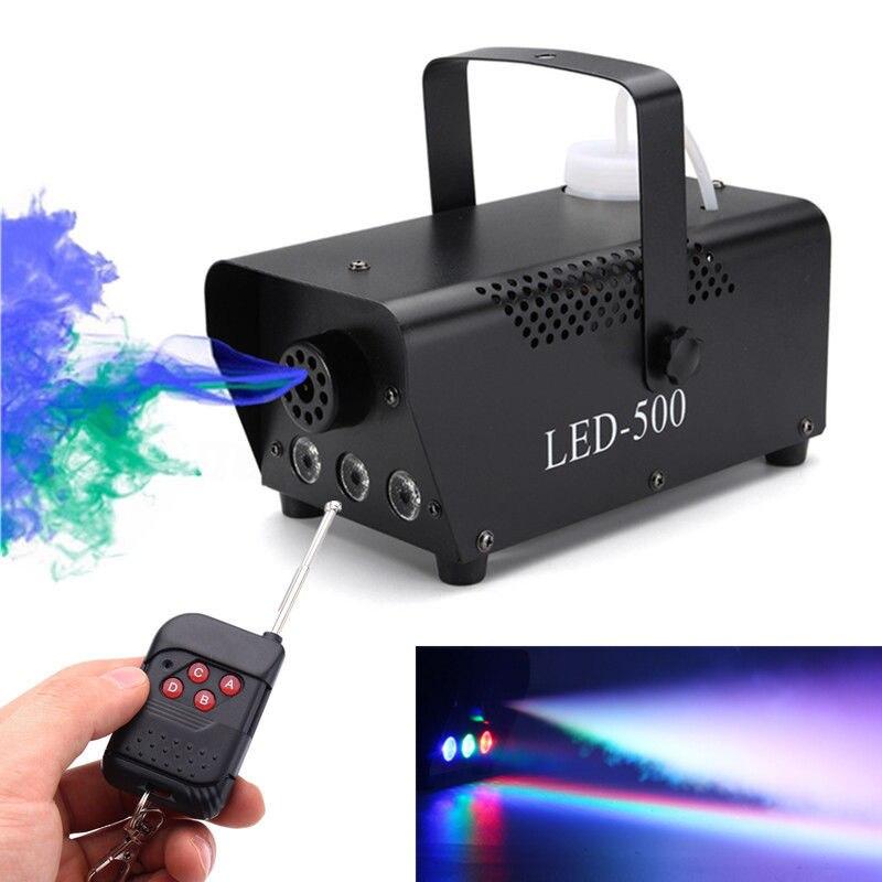 Ejetor Fogger Discoteca Máquina de Fumaça Colorida Mini LED Remoto sem fio Dj da Festa de Natal de Luz Do Estágio Máquina de Fumaça Transporte da gota