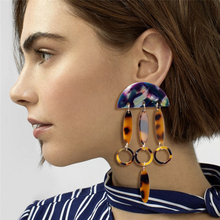 ZA 2020 Hot Sale Acrylic Resin Leopard Dangle Drop Earring For Women Fashion Tortoiseshell Geometry Acetate Earrings Brincos New hocole new fashion acrylic round drop earrings for women fashion jewelry leopard print resin geometric hanging dangle earring za
