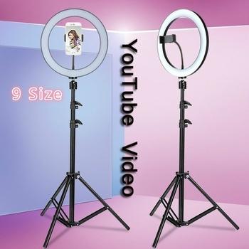 Youtube LED Selfie trzy-biegowa zimna ciepła bezstopniowa lampa ściemniająca lampa pierścieniowa LED lampa wideo z 50 160cm pierścieniem statywu tanie i dobre opinie OEBLD Ue wtyczka Bi-color 3200 K-5600 K
