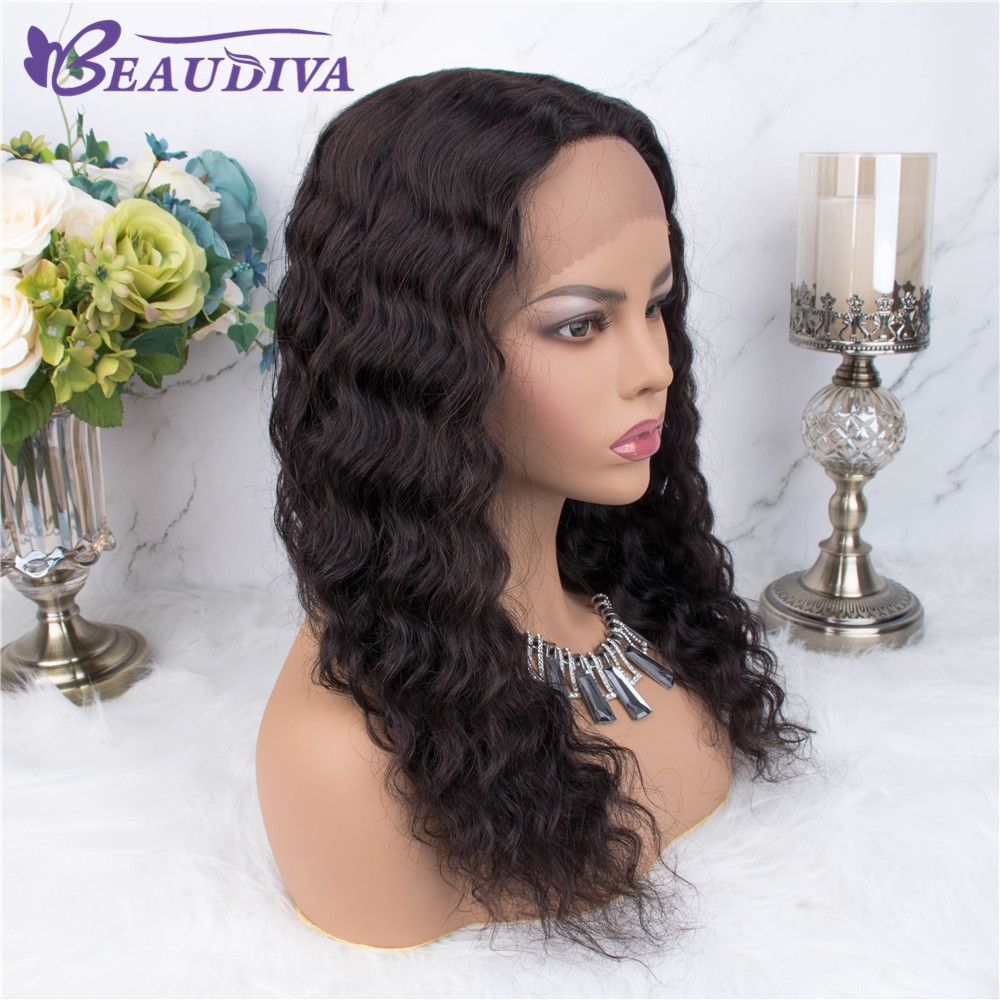 Curly Wig Human Hair Wigs Pre Plucked With Mid Part Peruvian Deep Wave Part Lace Wigs Beaudiva Remy Deep Wave 18inch Lace Wigs