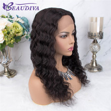 Curly Wig Human Hair Wigs Pre Plucked With Mid Part Peruvian Deep Wave Part Lace Wigs Beaudiva Remy Deep wave 18inch Lace Wigs цена 2017